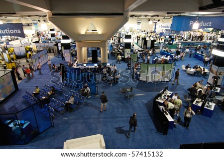 SAN DIEGO - JULY 14: ESRI (Environmental Systems Research Institute) user convention trade floor. July 14, 2010 in San Diego California - stock photo