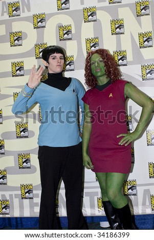 SAN DIEGO - JULY 23: Fans dress up as Star Trek characters at Comic-Con 2009 - Day 1 on July 23, 2009 in San Diego, CA - stock photo