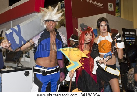 SAN DIEGO - JULY 23 : Workers dress up in character promoting and handing out demos of Dungeon Fighter Online game -Comic-Con Day 1 on July 23, 2009 in San Diego, CA - stock photo