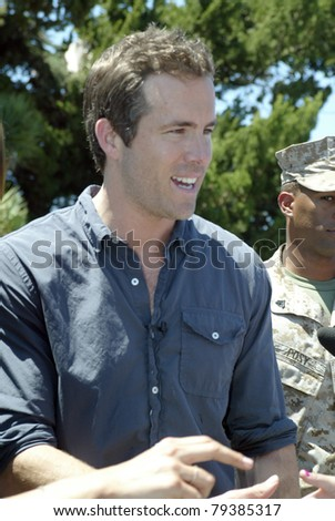 "SAN DIEGO - JUNE 16: Ryan Reynolds arrives at a screening of ""Green Lantern""  at MCAS Miramar's Bob Hope Theater on June 16, 2011 in San Diego, CA. The event is for Marines families for Father's Day."