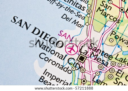 San Diego on a map - stock photo