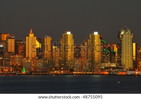 San Diego panorama at sunset - stock photo