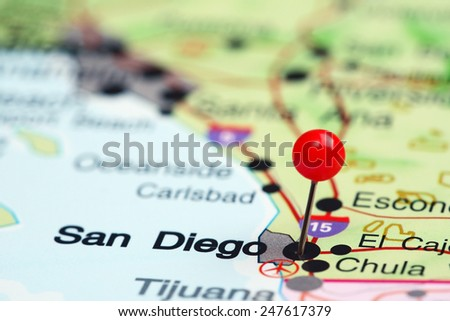San Diego pinned on a map of USA  - stock photo