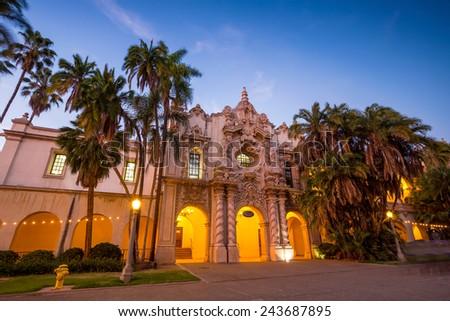 San Diego's Balboa Park at twilight in San Diego California USA - stock photo