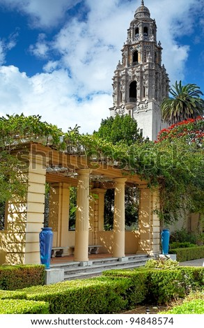 San Diego's Balboa Park Bell Tower and Patio Garden in Sunny San Diego, Southern California USA - stock photo