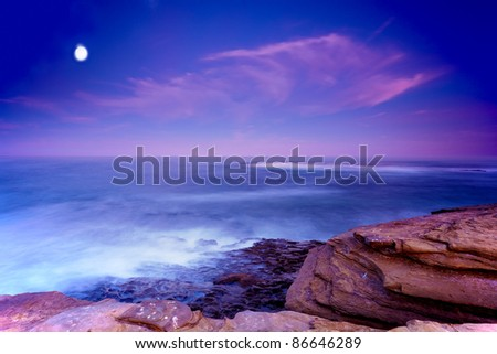 San Diego's La Jolla Shores and Moon in San Diego California at Dawn - stock photo