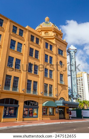 SAN DIEGO-SEP 28, 2014:  Balboa Theatre in San Diego on September 28, 2014. It was listed in the National Register of Historic Places in 1996. - stock photo
