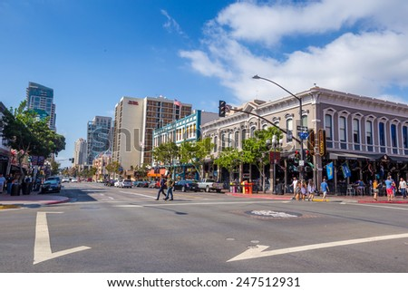 SAN DIEGO-SEP 28, 2014: Street of The Gaslamp Quarter in San Diego, on September 28, 2014. The Gaslamp Quarter extends from Broadway to Harbor Drive, and from 4th to 6th Avenue. - stock photo
