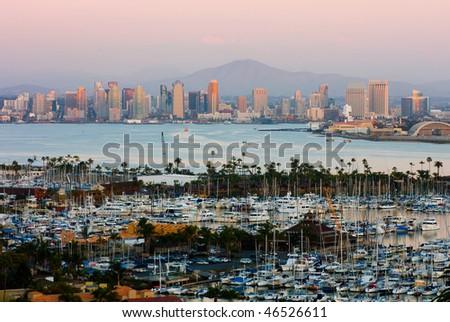 San Diego skyline after sunset - stock photo