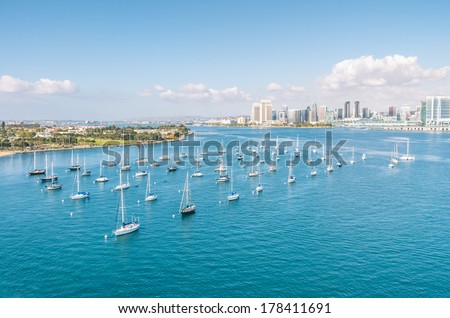 San Diego skyline and Waterfront with sailing Boats - stock photo