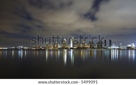 San Diego Skyline at dusk shot from Coronado island. - stock photo
