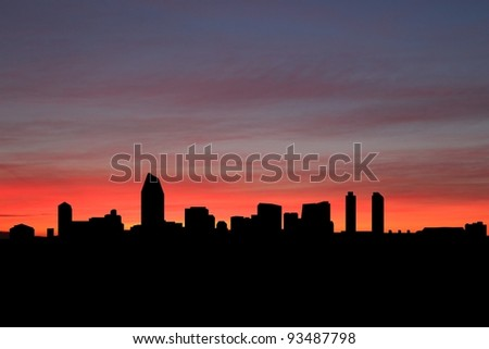 San Diego skyline at sunset with beautiful sky illustration