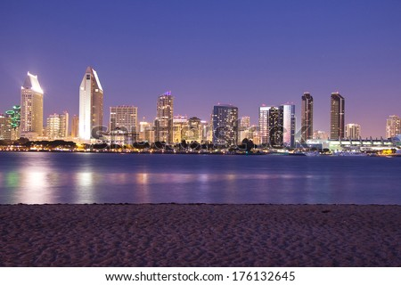 San Diego skyline by night - stock photo