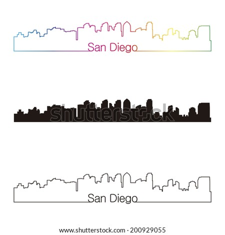 San Diego skyline linear style with rainbow