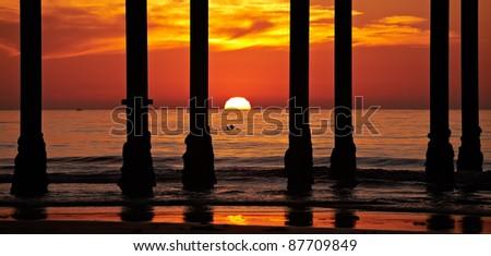 San Diego Sunset and Pillars at La Jolla Shores San Diego, California - stock photo