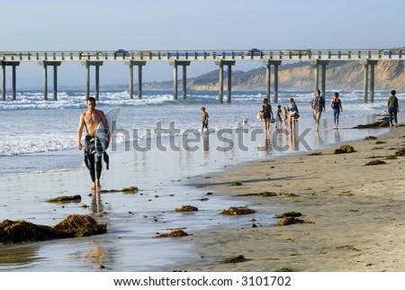 San Diego Surfer - stock photo