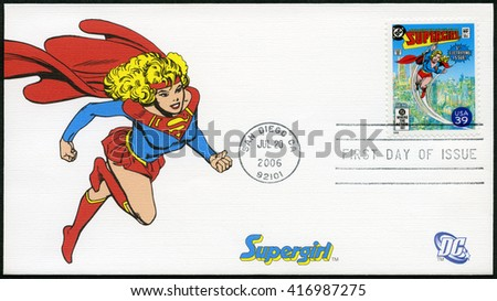SAN DIEGO, UNITED STATES OF AMERICA - JULY 20, 2006: A stamp printed in USA shows Supergirl, series the DC Comics - stock photo
