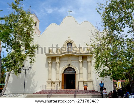 SAN DIEGO USA APRIL 05: Church Immaculate Conception in Old Town San Diego State Historic Park, located San Diego, California, is a state protected historical park. On 04 05 2015 in San Diego CA USA - stock photo