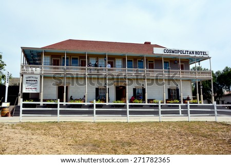 SAN DIEGO USA APRIL 05: The historic Cosmopolitan Hotel in Old Town San Diego State Historic Park. After a 3-year restoration project the hotel reopened in 2010. On april 05 2015 in San Diego CA USA - stock photo