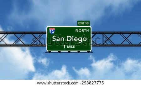 San Diego USA Interstate Highway Sign 3D Illustration - stock photo