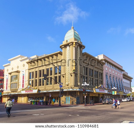 SAN DIEGO, USA - JUNE 11: facade of historic cinema Gaslamp 15 on June 11, 2012 in San Diego, USA. Since 2010, it is operated by Reading Cinemas ansd still serves as cinema. - stock photo