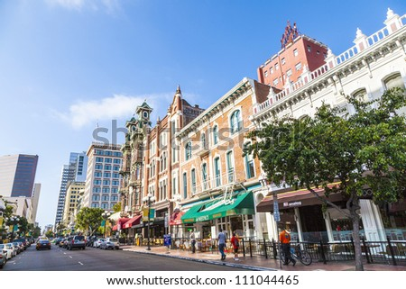 SAN DIEGO, USA - JUNE 11: facade of houses in the gaslamp quarter on June 11,2012 in San Diego, USA. The area is a historic district on the National Register of Historic Places and dates back to 1867. - stock photo