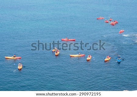san diego,usa - June 18 : travelers are kayaking  in sea June 18 , 2015 in san diego,usa