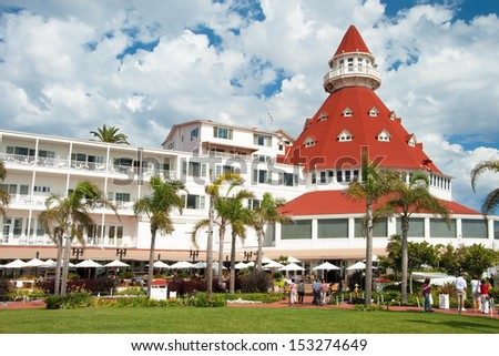 "SAN DIEGO, USA - OCTOBER 3, 2011: Victorian Hotel del Coronado on October 2, 2011 in San Diego, USA. In the hotel was filmed famous comedy ""Some like it hot"", which starred Marilyn Monroe. - stock photo"