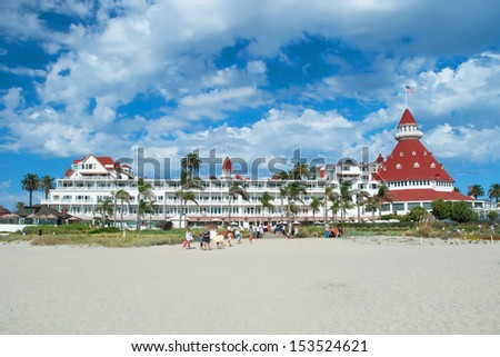 """SAN DIEGO, USA - OCTOBER 3, 2011: Victorian Hotel del Coronado on October 2, 2011 in San Diego, USA. In the hotel was filmed famous comedy """"Some like it hot"""", which starred Marilyn Monroe. - stock photo"""