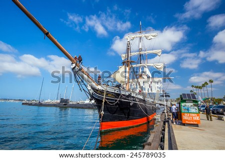 SAN DIEGO, USA - SEP 28, 2014: The Maritime Museum of San Diego on September 28, 2014. Established in 1948, preserves one of the largest collections of historic sea vessels in the United States.  - stock photo