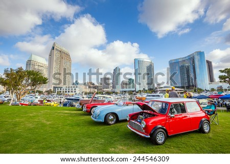 SAN DIEGO, USA - SEPTEMBER 28, 2014: Outdoor Exhibition of  retro cars at Embarcadero Marina Park North, San Diego on September 28, 2014 - stock photo