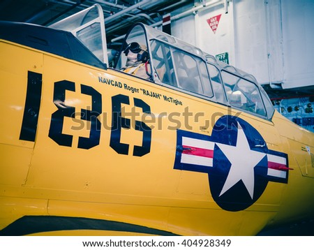 SAN DIEGO, USA - SEPTEMBER 19: Visitors on the USS Midway on September 19, 2015 in California, United States. It is now a museum docked in Downtown San Diego. - stock photo
