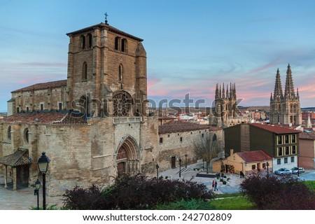 San Estaban church and Cathedral of Santa Maria, Burgos, Castilla, Spain. - stock photo