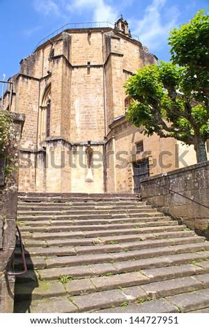 San Esteban de Lartaun is an ancient church in Oiartzun in the northern part of Spain - stock photo