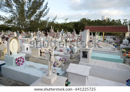 SAN FELIPE, MEXICO - JANUARY 23,2017: View of the  cemetery in San Felipe Mexico,January 23, 2017.