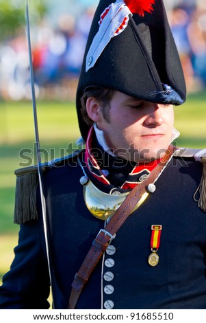 SAN FERNANDO, SPAIN - SEP 24: Actor taking part in the historical military reenacting of the oath of the Spanish constitution of 1812 on Sep 24, 2011 in San Fernando, Spain - stock photo
