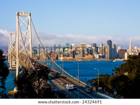 San Francisco and Bay Bridge - stock photo