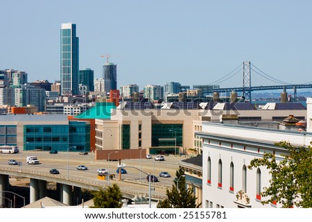 San Francisco and Bay Bridge - stock photo
