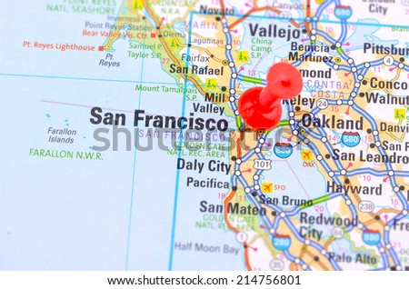 San Francisco and Map - stock photo