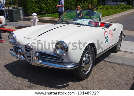 SAN FRANCISCO - APRIL 29: A 1956 Alfa Romeo Giulietta Spider is on display during the 2012 California Mille show in Nob Hill in San Francisco on April 29, 2012
