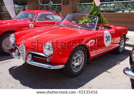 SAN FRANCISCO - APRIL 24: A 1956 Alfa Romeo Giulietta Spider is on display during the 2011 California Mille show in Nob Hill in San Francisco on April 24, 2011