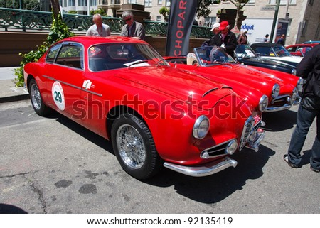 SAN FRANCISCO - APRIL 24: A 1956 Alfa Romeo 1900 SSZ is on display during the 2011 California Mille show in Nob Hill in San Francisco on April 24, 2011
