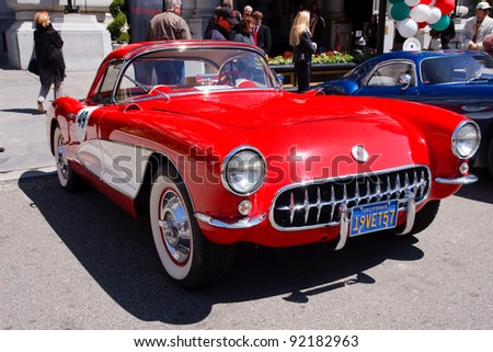 SAN FRANCISCO - APRIL 24: A 1957 Chevrolet Corvette Coupe is on display during the 2011 California Mille show in Nob Hill in San Francisco on April 24, 2011 - stock photo