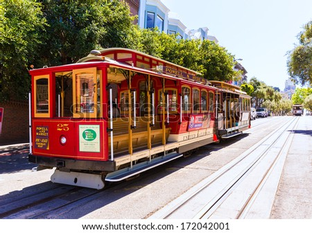 SAN FRANCISCO - APRIL 20, 2031: Cable car of Powell Hyde line, cable-car since 1873 are the world's last manually operated car system and are the icon of San Francisco, California on April 20, 2013. - stock photo