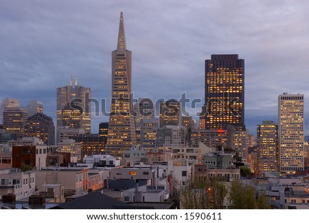 San Francisco at dusk, California, Usa - stock photo