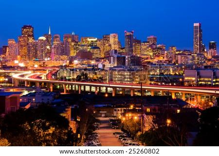 San Francisco at night - stock photo