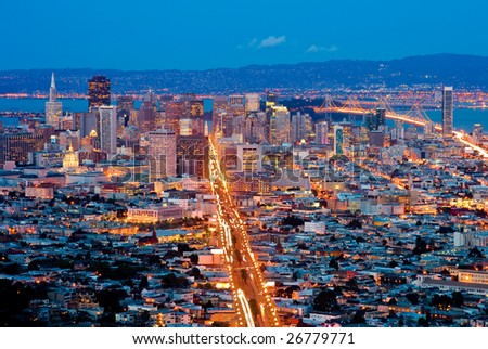 San Francisco at night - stock photo