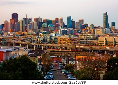 San Francisco at sunset - stock photo