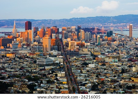 San Francisco at sunset - stock photo