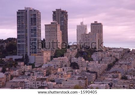 San Francisco at sunset, California, Usa - stock photo